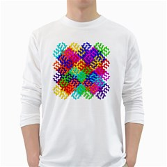 3d Fsm Tessellation Pattern White Long Sleeve T-Shirts