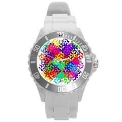 3d Fsm Tessellation Pattern Round Plastic Sport Watch (L)