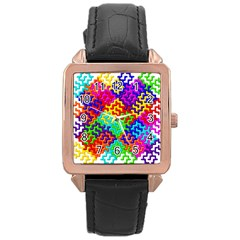 3d Fsm Tessellation Pattern Rose Gold Leather Watch