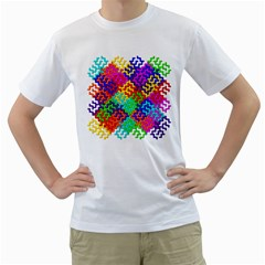 3d Fsm Tessellation Pattern Men s T Shirt (white)