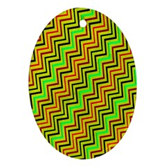 Green Red Brown Zig Zag Background Ornament (Oval)