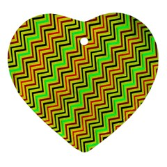 Green Red Brown Zig Zag Background Ornament (Heart)
