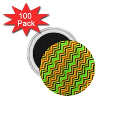 Green Red Brown Zig Zag Background 1 75  Magnets (100 Pack)