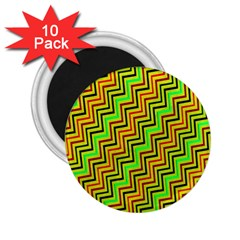 Green Red Brown Zig Zag Background 2.25  Magnets (10 pack)