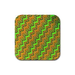 Green Red Brown Zig Zag Background Rubber Coaster (Square)