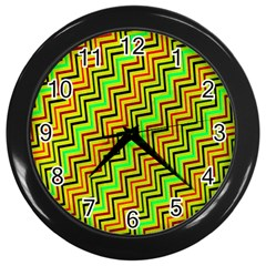 Green Red Brown Zig Zag Background Wall Clocks (black)