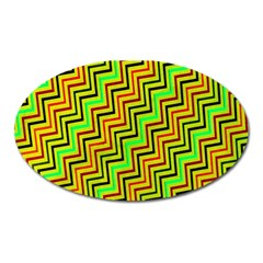 Green Red Brown Zig Zag Background Oval Magnet