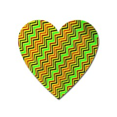 Green Red Brown Zig Zag Background Heart Magnet