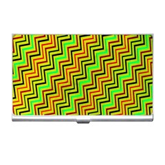 Green Red Brown Zig Zag Background Business Card Holders