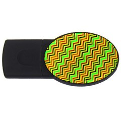 Green Red Brown Zig Zag Background USB Flash Drive Oval (1 GB)