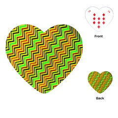 Green Red Brown Zig Zag Background Playing Cards (heart)