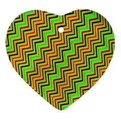 Green Red Brown Zig Zag Background Heart Ornament (Two Sides)
