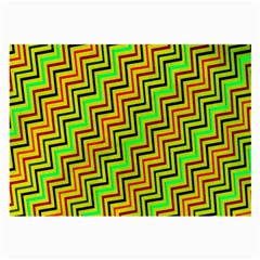 Green Red Brown Zig Zag Background Large Glasses Cloth (2 Side)