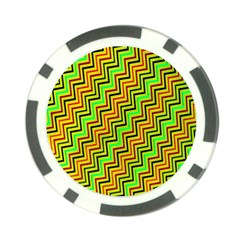 Green Red Brown Zig Zag Background Poker Chip Card Guard