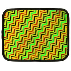 Green Red Brown Zig Zag Background Netbook Case (large)