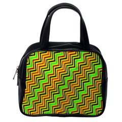Green Red Brown Zig Zag Background Classic Handbags (One Side)