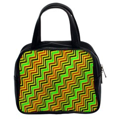 Green Red Brown Zig Zag Background Classic Handbags (2 Sides)