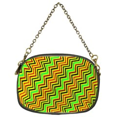 Green Red Brown Zig Zag Background Chain Purses (one Side)