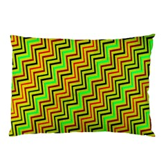 Green Red Brown Zig Zag Background Pillow Case