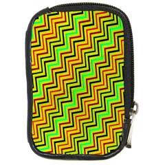 Green Red Brown Zig Zag Background Compact Camera Cases