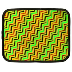 Green Red Brown Zig Zag Background Netbook Case (XXL)