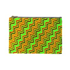 Green Red Brown Zig Zag Background Cosmetic Bag (Large)