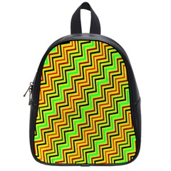 Green Red Brown Zig Zag Background School Bags (Small)