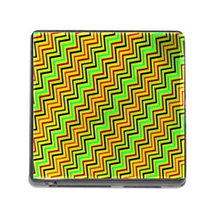 Green Red Brown Zig Zag Background Memory Card Reader (Square)
