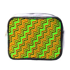 Green Red Brown Zig Zag Background Mini Toiletries Bags