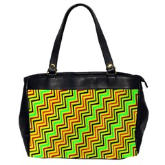 Green Red Brown Zig Zag Background Office Handbags (2 Sides)