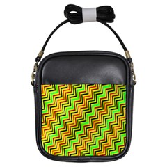 Green Red Brown Zig Zag Background Girls Sling Bags