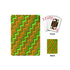 Green Red Brown Zig Zag Background Playing Cards (mini)