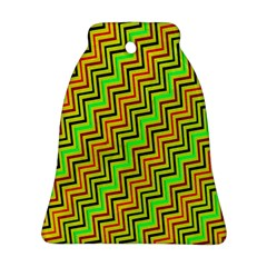 Green Red Brown Zig Zag Background Ornament (bell)