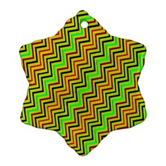 Green Red Brown Zig Zag Background Snowflake Ornament (Two Sides)