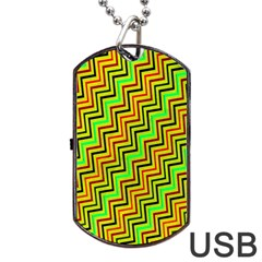 Green Red Brown Zig Zag Background Dog Tag USB Flash (One Side)