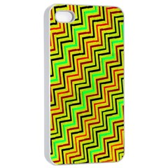 Green Red Brown Zig Zag Background Apple Iphone 4/4s Seamless Case (white)