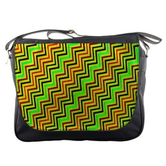 Green Red Brown Zig Zag Background Messenger Bags