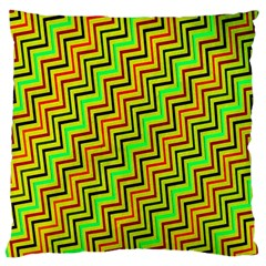 Green Red Brown Zig Zag Background Large Cushion Case (two Sides)