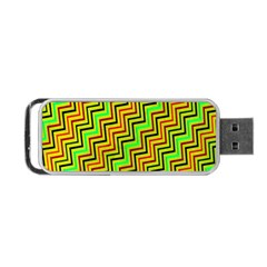 Green Red Brown Zig Zag Background Portable USB Flash (One Side)