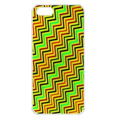 Green Red Brown Zig Zag Background Apple Iphone 5 Seamless Case (white)