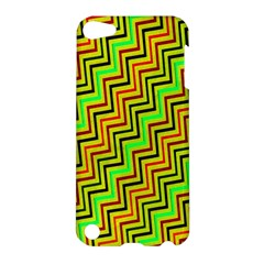 Green Red Brown Zig Zag Background Apple iPod Touch 5 Hardshell Case