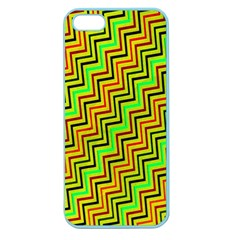 Green Red Brown Zig Zag Background Apple Seamless Iphone 5 Case (color)