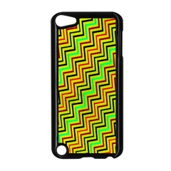 Green Red Brown Zig Zag Background Apple iPod Touch 5 Case (Black)