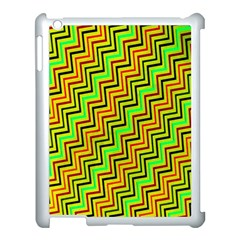 Green Red Brown Zig Zag Background Apple iPad 3/4 Case (White)