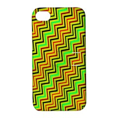 Green Red Brown Zig Zag Background Apple Iphone 4/4s Hardshell Case With Stand