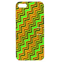 Green Red Brown Zig Zag Background Apple Iphone 5 Hardshell Case With Stand