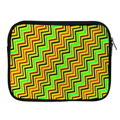 Green Red Brown Zig Zag Background Apple iPad 2/3/4 Zipper Cases