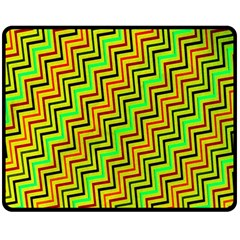 Green Red Brown Zig Zag Background Double Sided Fleece Blanket (Medium)