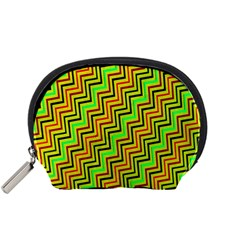 Green Red Brown Zig Zag Background Accessory Pouches (Small)