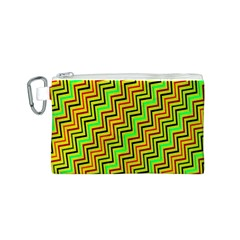 Green Red Brown Zig Zag Background Canvas Cosmetic Bag (S)